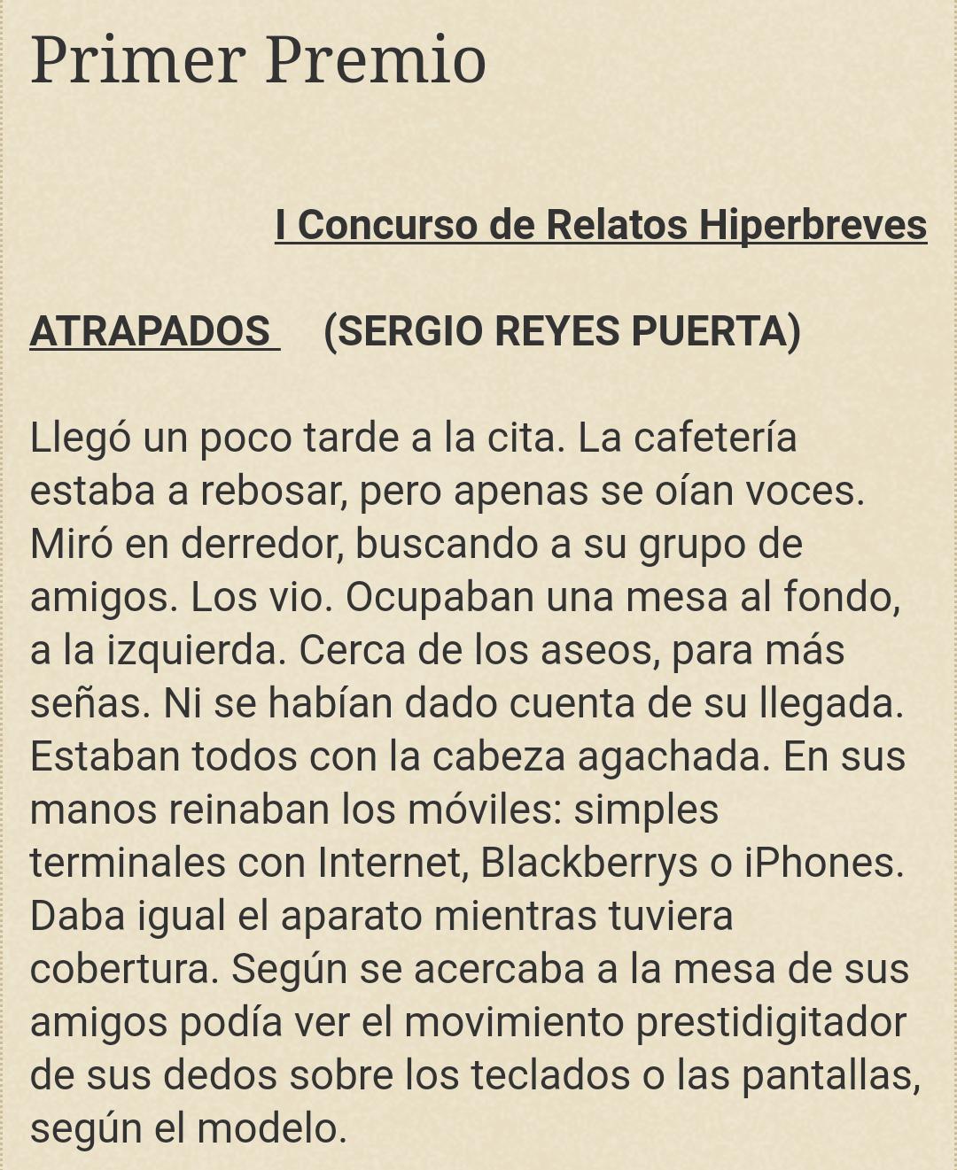 """Primera parte del texto del microrrelato """"Atrapados"""" de Sergio Reyes Puerta"""