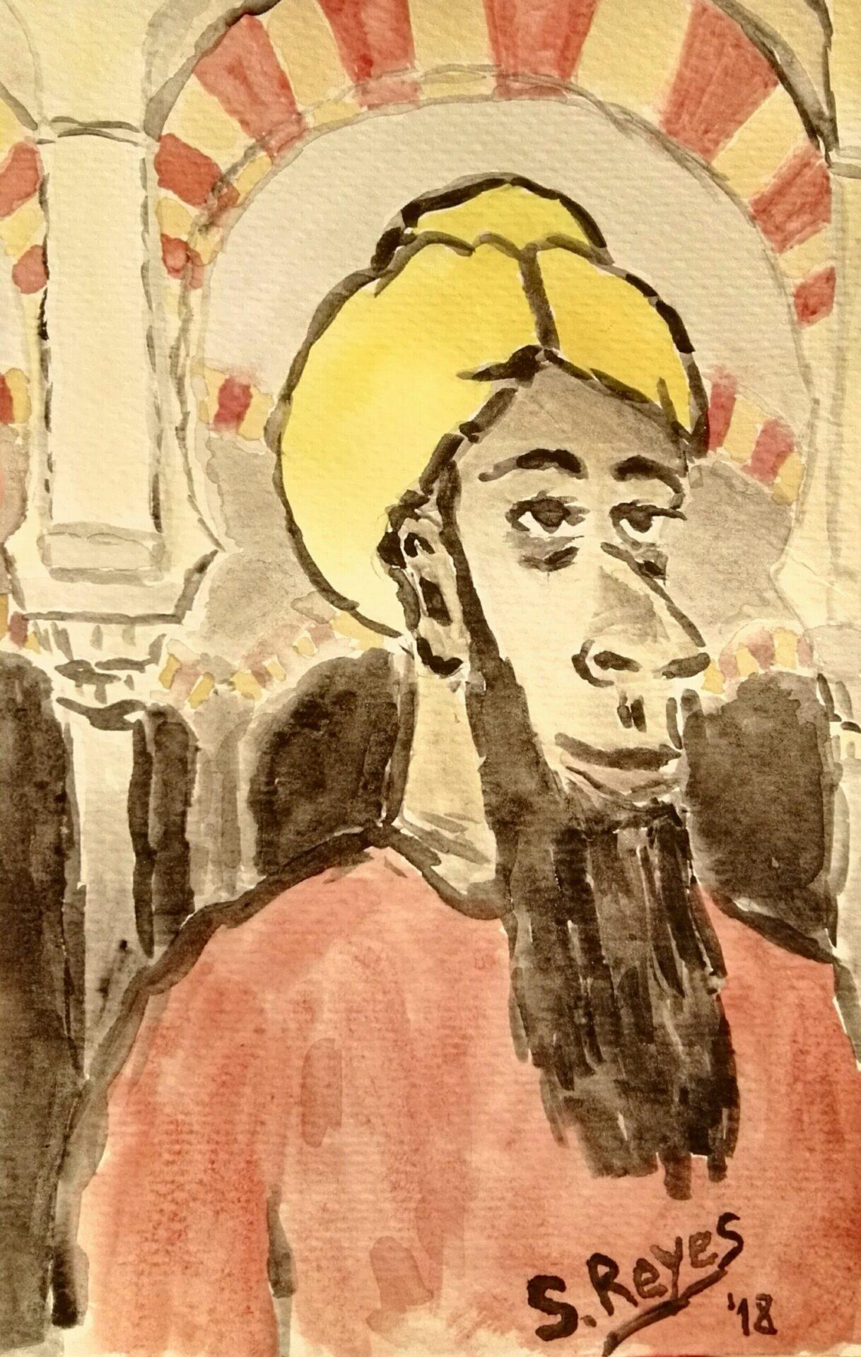 Recreación de Abderramán II en la mezquita de Córdoba. Acuarela de Sergio Reyes Puerta