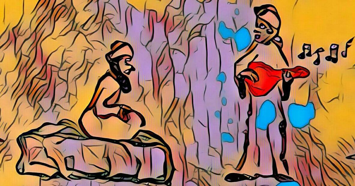 Abderramán II escucha a Ziryab tocándole el laúd y cantando