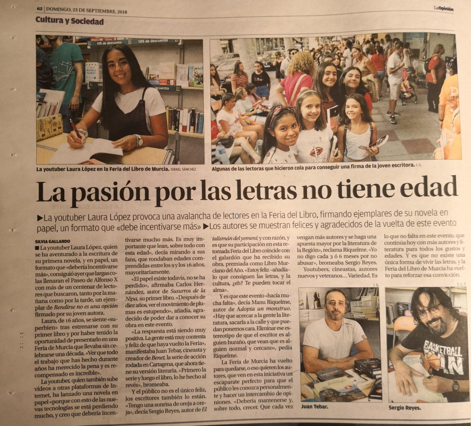 Noticia sobre la feria del libro de Murcia en la que aparece el escritor murciano Sergio Reyes Puerta (Dossier de prensa 2018)
