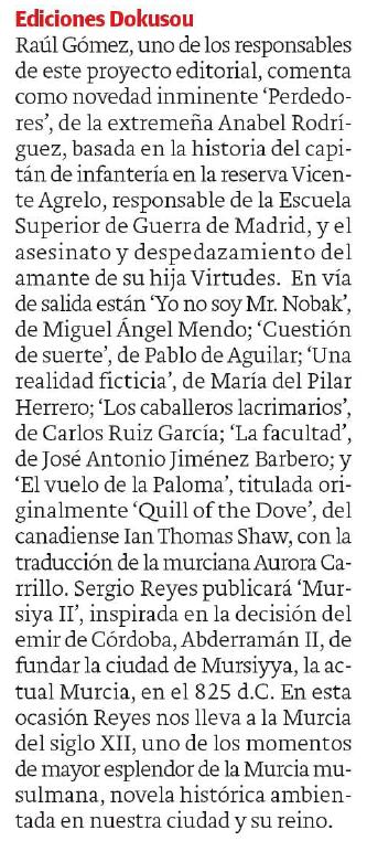 Detalle del reportaje sobre lanzamientos editoriales en el que se habla del lanzamiento del tercer libro de Sergio Reyes Puerta