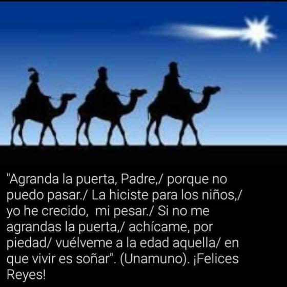 Poesía de los Reyes Magos de Miguel de Unamuno que circula por redes (la de esta imagen está incompleta)