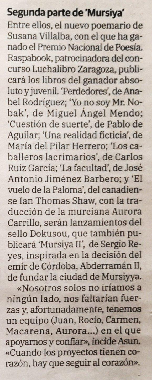 Detalle de la noticia sobre Dokusou y Raspabook en el que se puede leer la referencia a Sergio Reyes Puerta