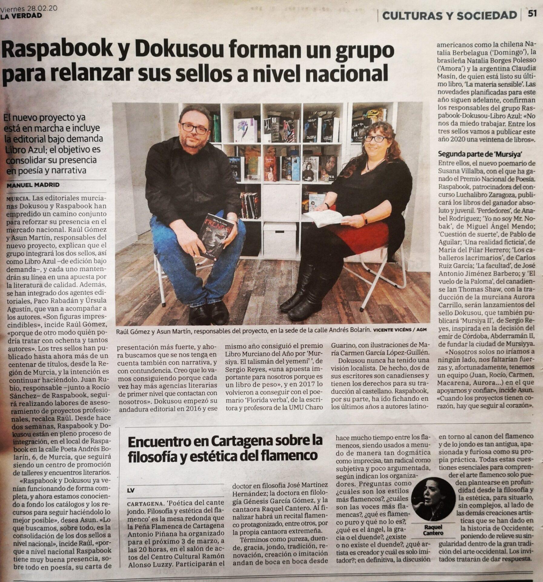 Noticia sobre Raspabook y Dokusou incluida en Dossier de prensa 2020 por hacer referencia a Sergio Reyes Puerta