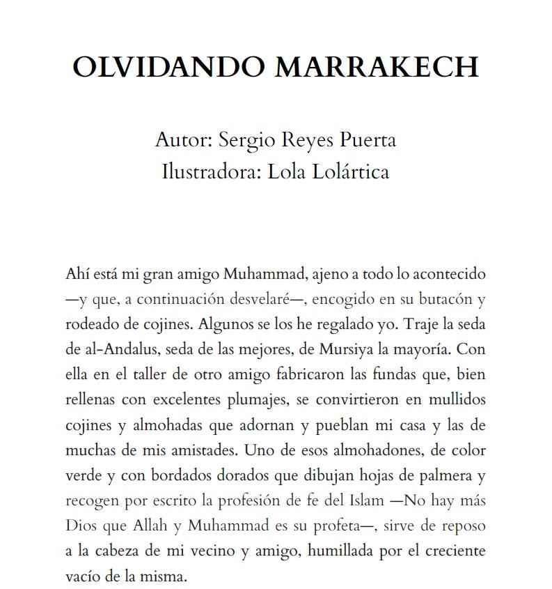 """Comienzo de """"Olvidando Marrakech"""" en la antología solidaria """"Un salto en el recuerdo"""""""