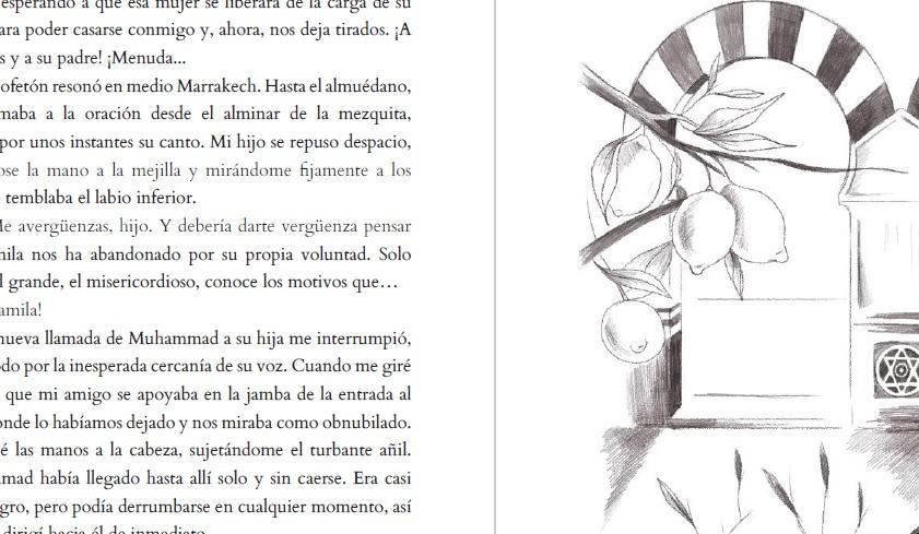 """Otra foto seccionada e incompleta de una doble página de """"Olvidando Marrakech"""", relato publicado en la antología solidaria """"Un salto en el recuerdo"""""""