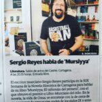 Sergio Reyes habla de Mursiyya. Foto en la Feria del libro de Murcia
