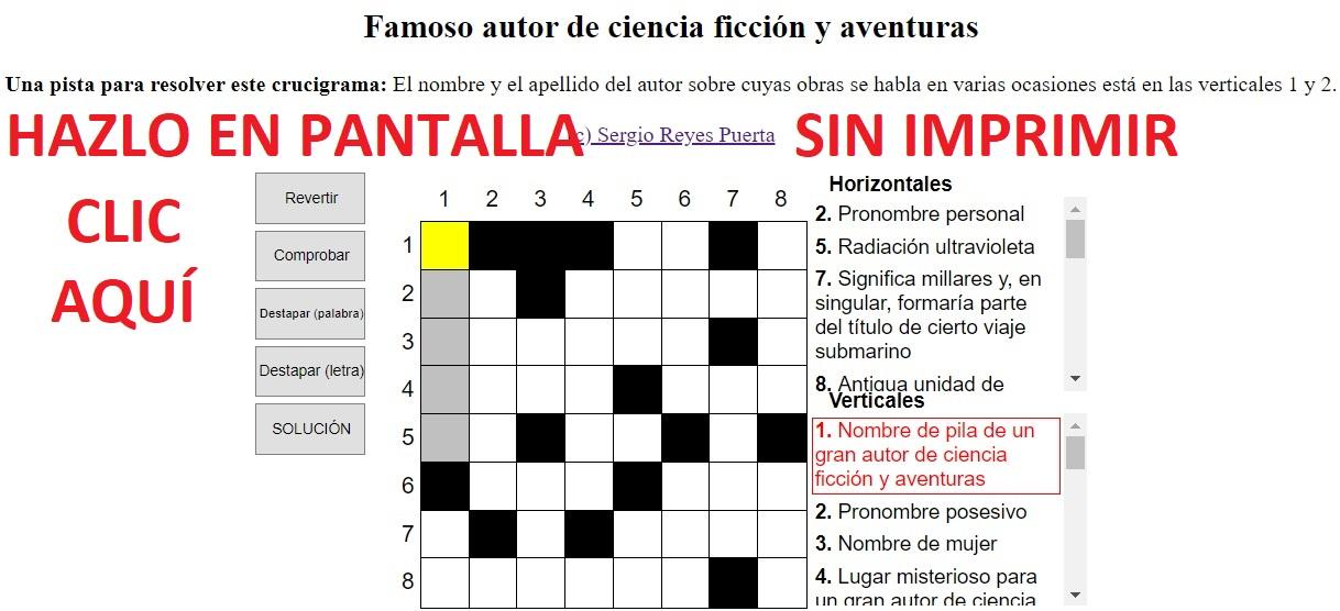 Enlace a la versión interactiva del crucigrama literario de Sergio Reyes Puerta