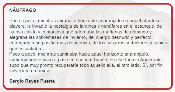 Captura del texto del microrrelato Náufrago de Sergio Reyes en la revista Cinco palabras