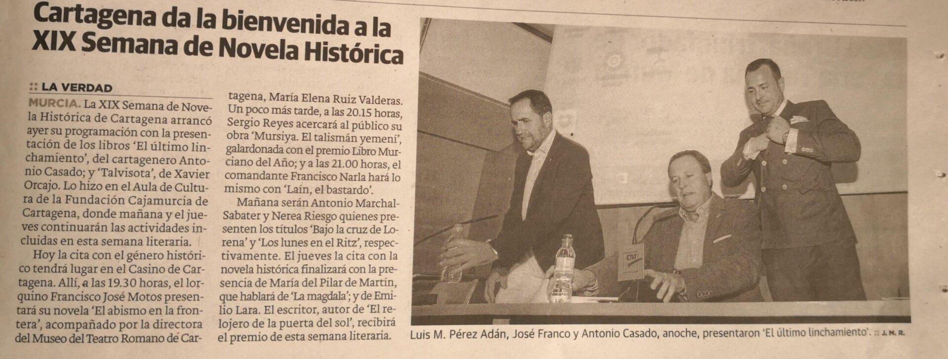 Dossier de prensa 2018 Sergio Reyes Puerta, noticia sobre la semana de novela histórica de Cartagena