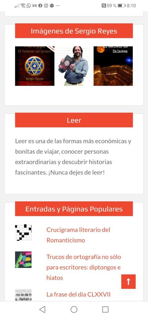 Nueva imagen de la web de Sergio Reyes Puerta vista desde un móvil