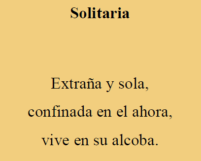"Otro de los Haikus: ""Solitaria"""