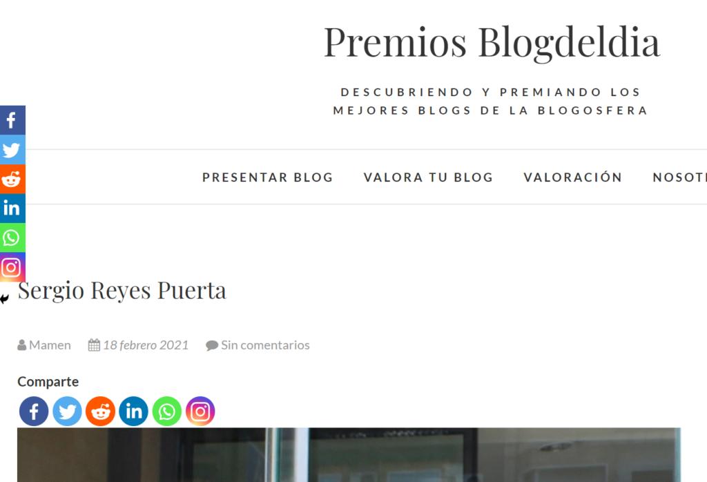 Entrevista a Sergio Reyes en la página Premios Blog del día