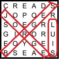 Ejemplo de sopa de letras de Borges con mensaje oculto