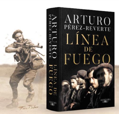 Portada de Línea de Fuego de Arturo Pérez-Reverte con ilustración de Augusto Ferrer-Dalmau
