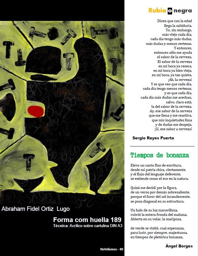"""Página de Nefelismos IV que contiene el poema sobre el sabor de la cerveza de Sergio Reyes Puerta titulado """"Rubia o negra"""""""
