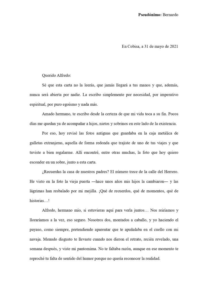 Primera página de la carta de amor ganadora del X concurso internacional de Cartas de amor de Cobisa