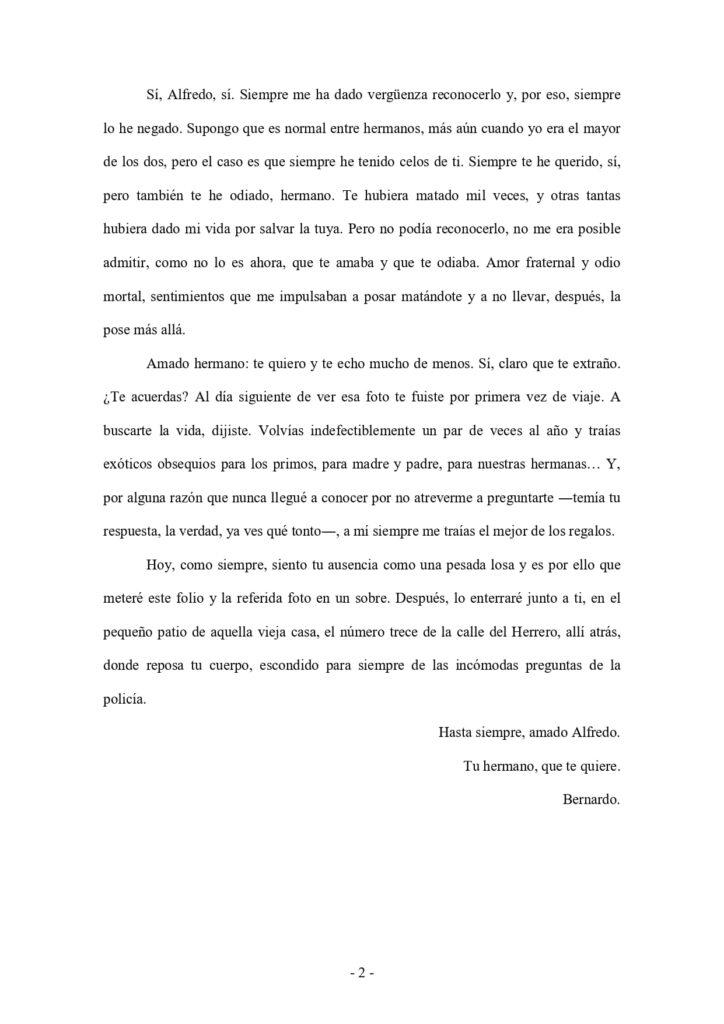 Segunda página de la carta de amor ganadora del X concurso internacional de Cartas de amor de Cobisa