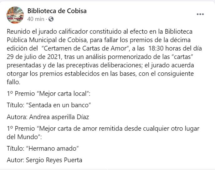 Captura del facebook de la Biblioteca de Cobisa con el fallo del X certamen de Cartas de amor