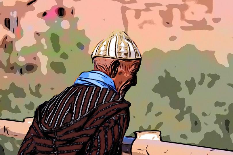 Yahya ibn Yahya o Yahya ben Yahya asomado a una terraza del alcázar mayor de Mursiyya o Mursiya (recreación)