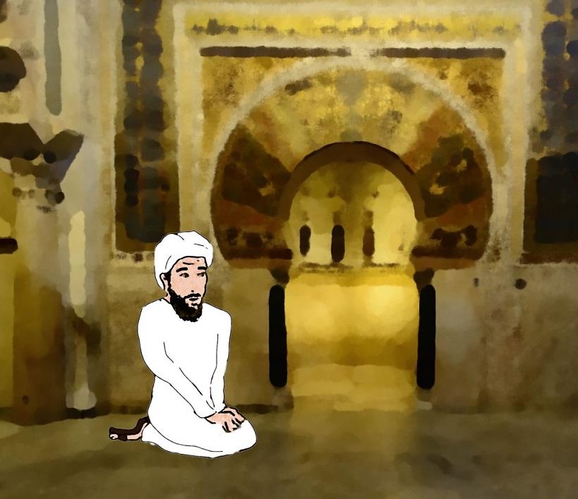 Muhammad ibn al-Faras Caracaballo orando en la mezquita junto al mihrab ampliado