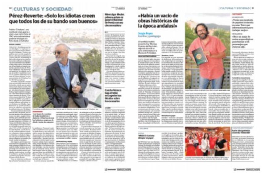 """Captura a doble página del reportaje en La Verdad sobre """"Mursiya. El pintor del Rey Lobo"""" de Sergio Reyes"""