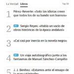 """Captura completa de lo más leído con Sergio Reyes y """"Mursiya. El pintor del Rey Lobo"""" en segundo lugar"""