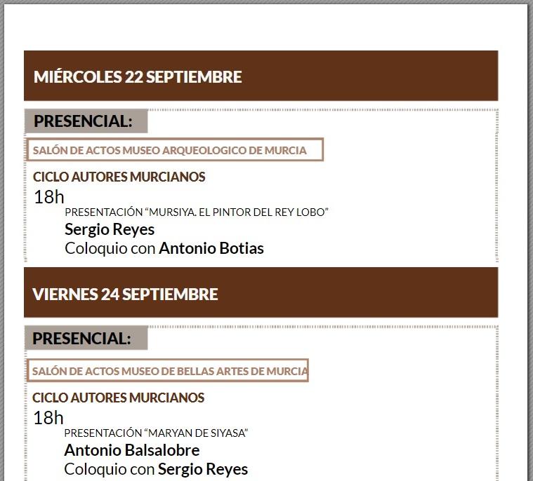 Participaciones de Sergio Reyes en Exlibris IV semana internacional de las letras de la Región de Murcia