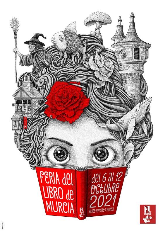 Cartel grande de la Feria del libro de Murcia 2021