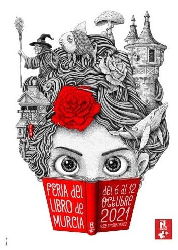 Cartel pequeño de la Feria del libro de Murcia 2021