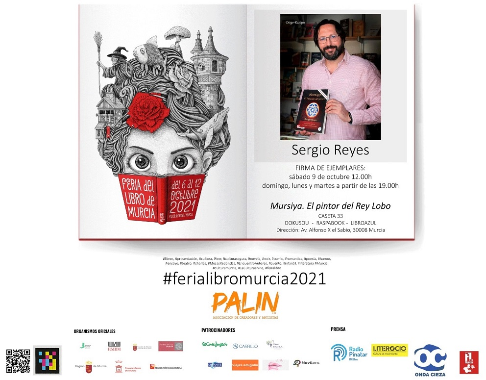 Firmas de Sergio Reyes de El pintor del Rey Lobo en la caseta de Dokusou en la Feria del libro de Murcia 2021