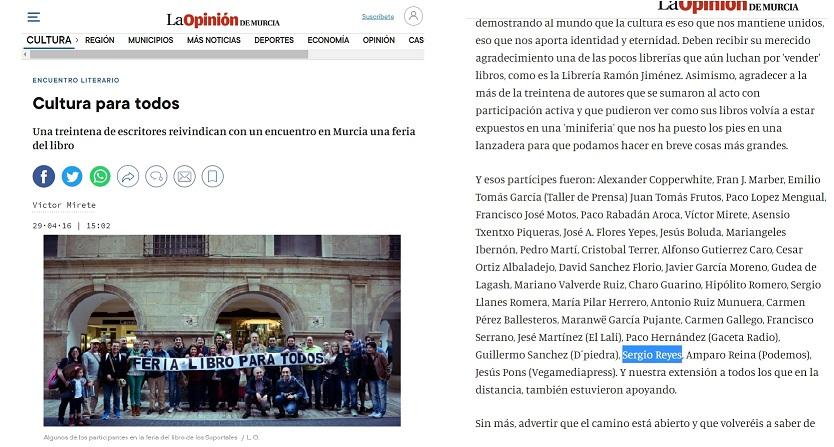 Captura parcial participación Sergio Reyes en reivindicación Feria del Libro de Murcia para todos en La opinión Dossier de prensa 2016